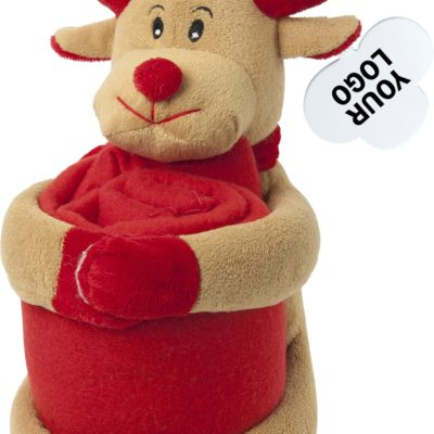 Christmas Soft Toy With Fleece Blanket